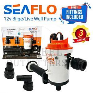 SEAFLO 12v 800GPH LIVEWELL Live Bait Tank Well Aerator Bilge Pump Kit Fishing
