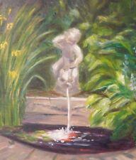 Original OIL Painting CHERUB FOUNTAIN BY KOI POND in Garden signed IPSWICH Ma