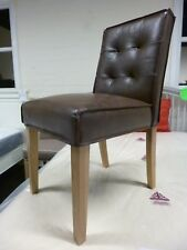 New 6 x Chunky Retro Solid Oak & Brown Leather Dining Chairs *Furniture Store*