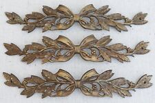 "3 Antique French Bronze Laurel Swags 8½"" Furniture Ornament Drawer Escutcheon"