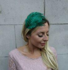 Dark Jade Bottle Green Feather Fascinator Headband Headpiece Hair Band 9001