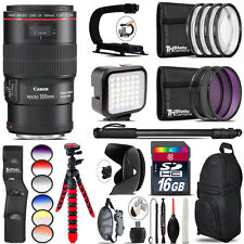 Canon EF 100mm 2.8L IS USM Lens - Video Kit + Color Filter - 16GB Accessory Kit