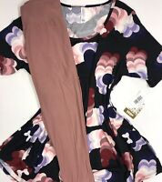 Lularoe PERFECT T Disney Medium Mickey Mouse W/ OS Dusty Pink Leggings Outfit