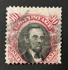 US Scott #122 90c Stamp President Abraham Lincoln. Used, Clean cancel CV $1800