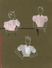 """""""PROJET DE CORSAGES"""" Maquette gouache originale M. ISSANCHOU vers 1940"""