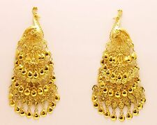 18k SOLID  GOLD PEACOCK EARRING HANDMADE FROM THAILAND
