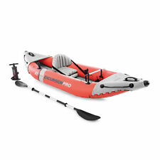 Intex Excursion Pro 1 Person Inflatable Fishing Vinyl Kayak with Oar and Pump