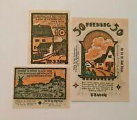 TESSIN REUTERGELD NOTGELD 10, 25, 50 PFENNIG 1922 NOTGELDSCHEINE (12041)