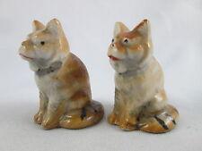 Vintage Figural Tiger Cub Striped Cat Japan Porcelain Salt & Pepper Shakers Set