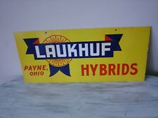 Laukhuf Hybrids Payne OH Vintage Metal Double Sided Advertising Sign 1950's NOS