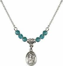 December Birth Month Bead Necklace with Saint Sebastian Petite Charm, 18 Inch