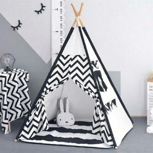 Large Unbleached Canvas Original Teepee Kids Teepee with Grey Pom Poms Indian Pl