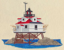 THOMAS POINT SHOAL LIGHTHOUSE SET OF 2 BATH HAND TOWELS EMBROIDERED BY LAURA