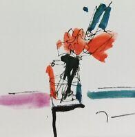 "JOSE TRUJILLO - NEW Original Watercolor Painting SIGNED Small 3x3"" Minimalist"