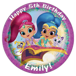 """Shimmer And Shine Personalised Birthday Cake Topper Edible 7.5"""" Wafer Paper"""
