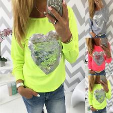 Fashion Womens Glitter Casual Long Sleeve Tops Shirt Ladies Loose T-shirt Blouse