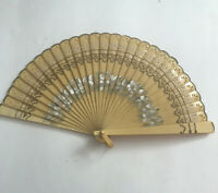 Vintage Celluloid Hand Folding Fan Carved Hand Painted Ribbon