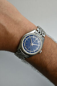 Rare! Vintage SEIKO 66 7109 Navy Blue Dial Automatic Men's 36MM Steel Watch