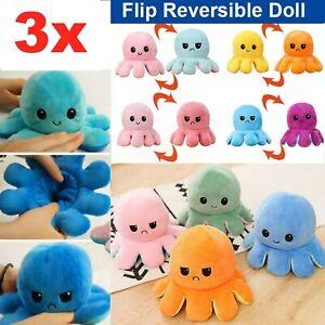 3x Octopus Double-Sided Plush Toy Doll Reversible Flip Animals Mood Emotion Kid