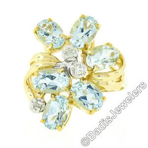 14K Yellow Gold 2.43ctw Oval Aquamarine & Diamond Spray Cluster Cocktail Ring