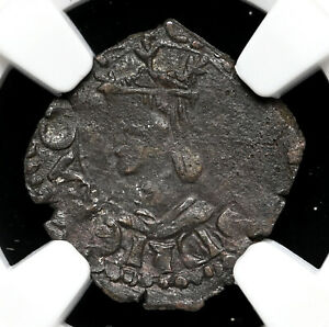 SPAIN, Valencia. Carlos I, 1516-1558. Billon Dinero, NGC VF25