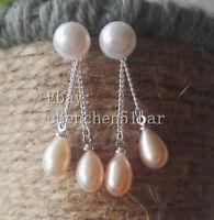 echte kultivierte weiß Süßwasserperlen weiße Perle Stud rosa Quaste Ohrringe