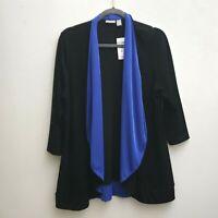 Chicos Travelers Pricilla Jacket Open Cardigan Sz 2/Medium Black Blue Drape NWT