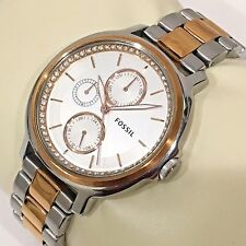 FOSSIL ES3356 CHELSEY GLITZ SILVER FACE ROSE GOLD CASE BAND LADIES 2 TONE RARE