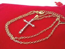 Collana Ciondolo Croce Oro Donna Crocifisso Zirconi Elegante I Gioielli di Vicky