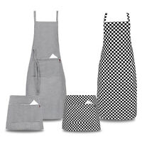 Chef Aprons Bistro Full Half CHESS / MEDIUM CHECK UK Catering Restaurant Aprons