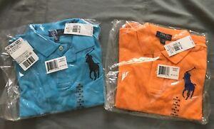 NWT Ralph Lauren SET OF TWO Boys S/S Classic Big Pony Polo Shirt Sz 10-12 L@@K!