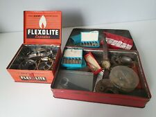 JOB LOT OF VINTAGE WATCH MAKERS BITS AND BOBS IN 2 VINTAGE TINS