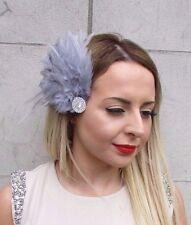 Grey Silver Feather Fascinator Hair Clip Races 1920s Vintage Flapper Deco 2904