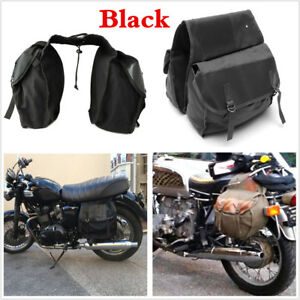 Black Canvas Motorcycle MotorBike Rear Tail Bag Back Pack Saddle Storage Bag