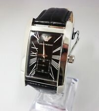 BRAND NEW EMPORIO ARMANI AR0143 MENS WATCH BLACK LEATHER STRAP BLACK DIAL