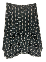 New, 59.50 Value! STYLE CO. XXL black floral midi skirt trapeze hem side slits