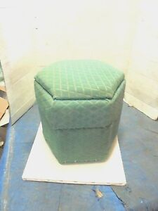 """vintage stool with storage retro fabric covering 13-1/2"""" tall 6 sided l"""