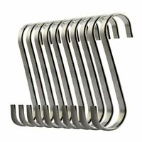 Set of 10 S Stainless Steel Suspension Hooks for Kitchen Cookware or Butcher  Z4