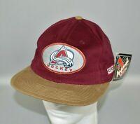 Colorado Avalanche CCM Vintage 90s NHL Double Logo Snapback Cap Hat - NWT