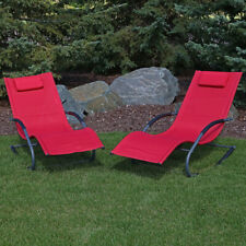 Sunnydaze Outdoor Rocking Wave Lounger Chair with Pillow - Red - Set of 2