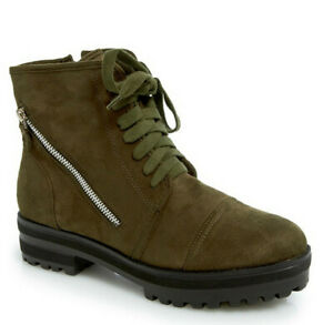 NWT Women'S Wanted Green Suede Cap Toe Platform Combat Boots Size 6.5M