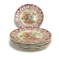 Royal Doulton Pomeroy Red Set of 6 Bread Butter Side Plates 6 1/2""