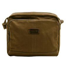 Troop London - Brown Heritage Canvas Tablet Messenger/Body Bag with Leather Trim