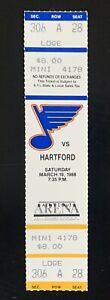 1988 Bernie Federko HISTORIC 1,000 point milestone Full ticket stub Blues HOF