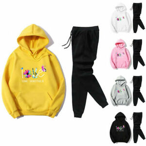 Womens Sport Suits Floral Hooded Sweatshirt Pullover Sweatpants Tracksuit Sets