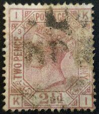 Duzik: Gb Qv Sg139 rosy mauve Plate3 K-I used stamp (No2042)*