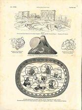 Antiquité Egypte/Masque du Japon Fuji Céramique Japonaise Divinités GRAVURE 1882