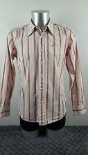[ref:2024] Hilfiger Denim Camisa, Rojo Blanco Rosa Marrón y Azul Rayas, Medio