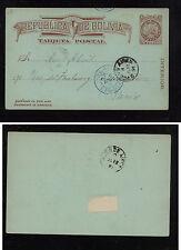 Bolivia postal card 1891  Argentina cancel?? to  France    AL0506