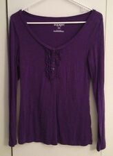 Old Navy Purple Ruffle-Button Henley Shirt, Long Sleeved - Small